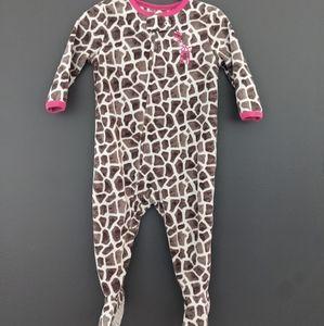 Giraffe print super soft zip up sleeper/footie